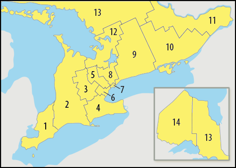 A map showing which areas of Ontario are covered by each of thehealthline.ca's regional sites.